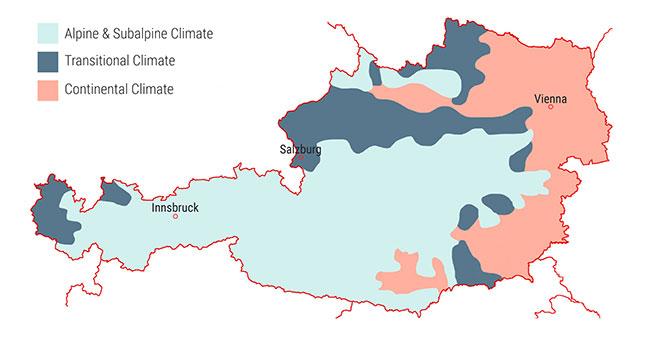 Климатическая карта Австрии