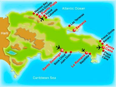 карта курортов Доминиканы