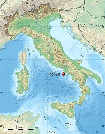 Остров Искья на карте