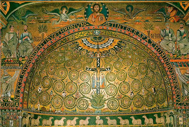 Мозаика с крестом и распятым на нем Спасителем Иисусом Христом